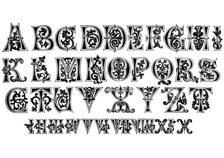 Målarbild bokstäver och siffror - typsnitt - från 1000