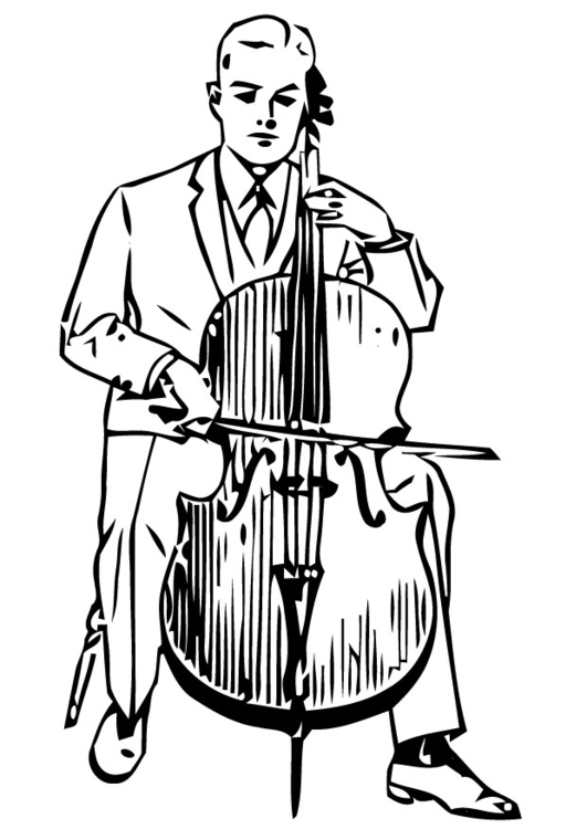 Målarbild cello