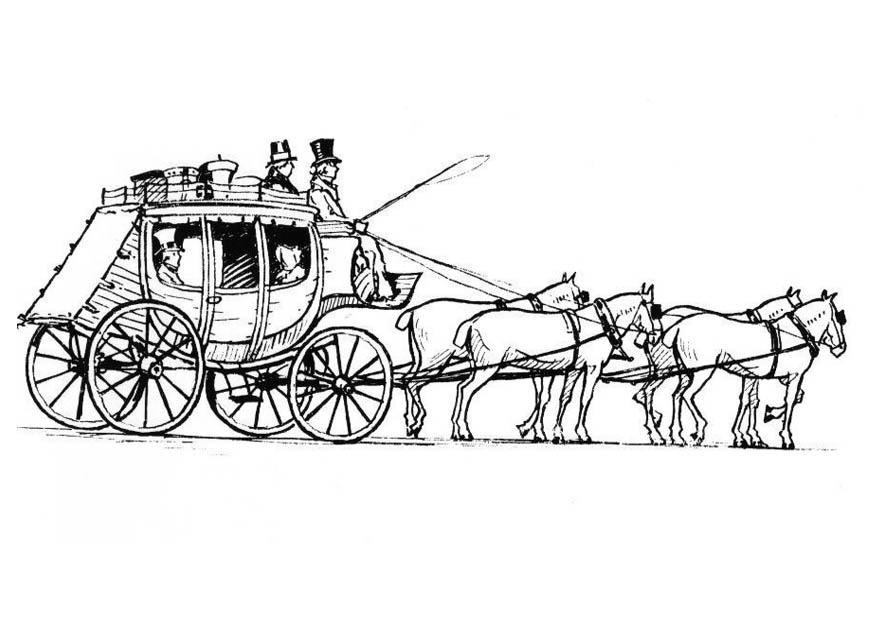 m u00e5larbild h u00e4star med vagn