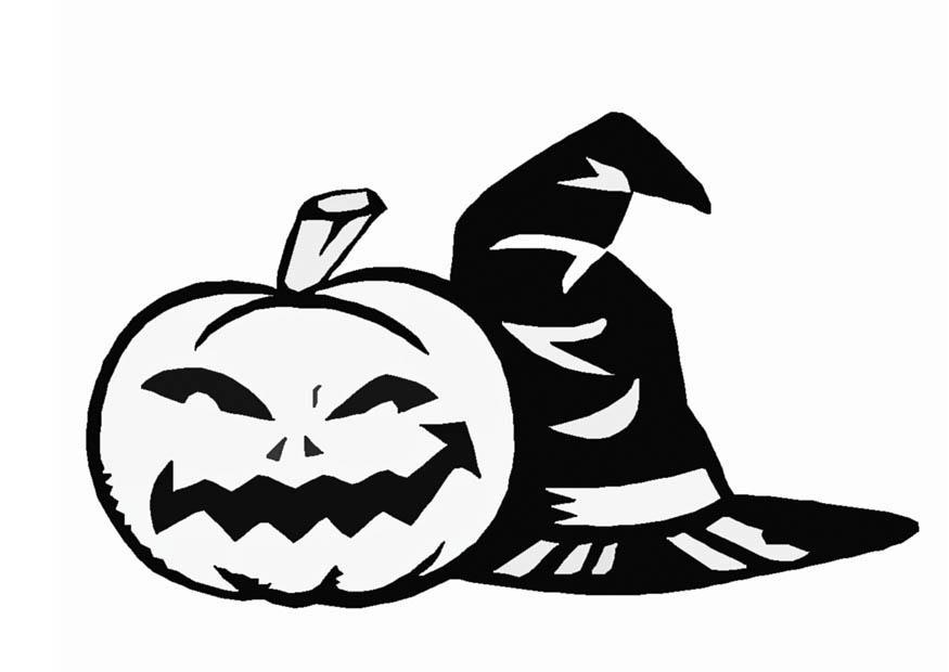 Målarbild Halloween - pumpa och häxa - Bild 16547.
