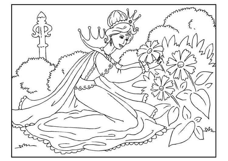 Kleurplaten Prinses Leonora M 229 Larbild Prinsessa Som Plockar Blommor Bild 22648