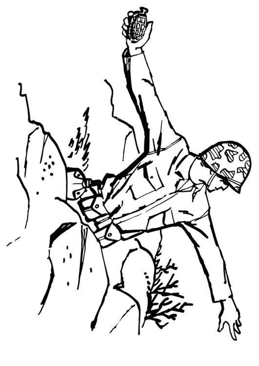 Kleurplaat Militair M 229 Larbild Soldat Kastar Granat Bild 13288