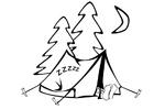 Målarbild sova i tält