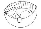 Målarbild sovande kissekatt