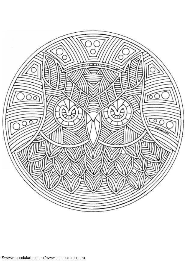 M larbild uggla mandala bild 18715 - Coloriage minutieux ...