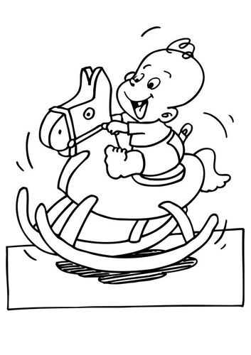 Målarbild baby på gunghäst