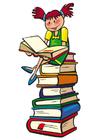 bild att läsa på en hög med böcker