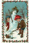 bild barn bygger snögubbe