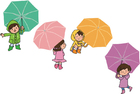 bild barn med paraplyn