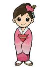 bild flicka i kimono