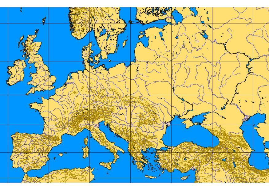 karta över bergskedjor i europa Bild karta över Europas berg och floder   Bild 8319 karta över bergskedjor i europa