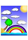 bild landskap med regnbåge