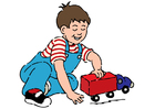 bild pojke med leksaksbil