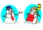 bild snögubbe och snögumma