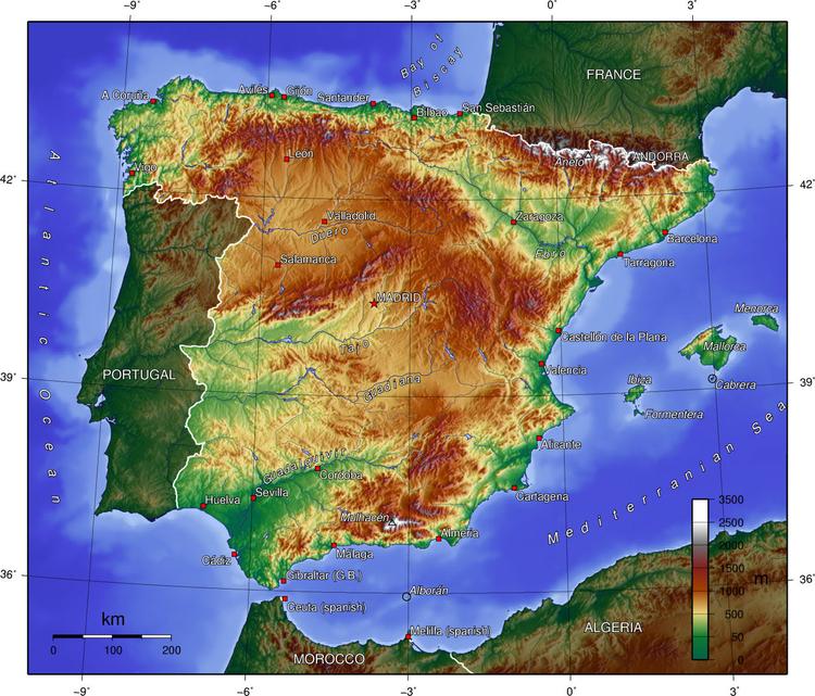 topografisk karta Bild Spanien   topografisk karta   Bild 17047 topografisk karta