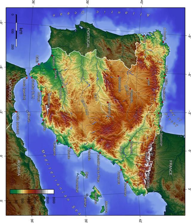 Karta Pa Spansk.Bild Spanien Topografisk Karta Bild 17047 Images
