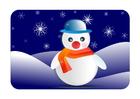 bild vinterlandskap med snögubbe