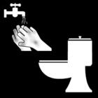 Målarbild att tvätta händerna efter toalettbesök