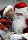 Foto jultomten med ett barn