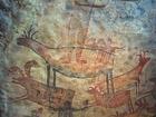 Foto väggmålning i grotta
