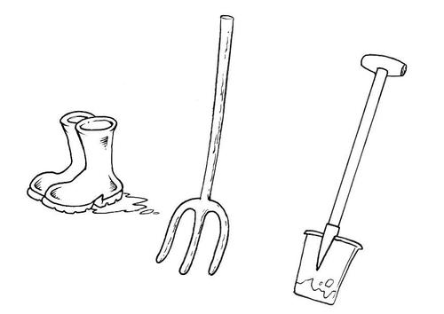 Målarbild gummistövlar grep spade