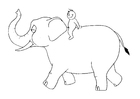 M�larbilder 07b - elefant med person