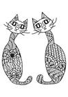 Målarbild 2 katter