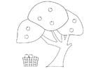 Målarbild äppelträd med korg