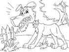 Målarbild arg Hund