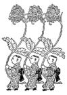 Målarbild Asien - gul krysantemum bärare