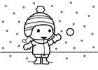 Målarbild att kasta snöbollar