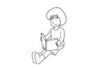 Målarbild att läsa en bok