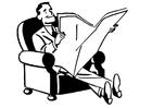 Målarbild att läsa tidningen