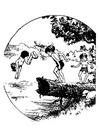 Målarbild att simma in en damm
