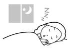 Målarbild att sova
