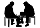 Målarbild att spela ett parti schack