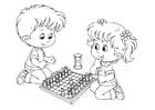 Målarbild att spela schack