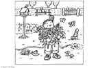 Målarbild barn i trädgÃ¥rden