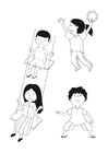 Målarbild barn som leker