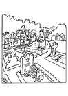 Målarbild begravning