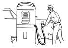 Målarbild bensinstation