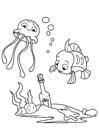 Målarbild bläckfisk och fisk med flaska