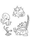 Målarbild bläckfisk och pufffisk simmar runt