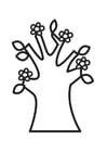 Målarbild blommande träd pÃ¥ vÃ¥ren