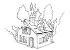 Målarbild brand i hus