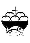Målarbild bröd och fisk