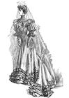 Målarbild brudklänning 1906