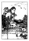 Målarbild Buddhastaty