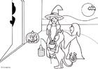Målarbild Bus eller godis pÃ¥ Halloween