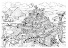 Målarbild byggande av en pyramid